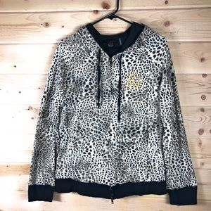 Christian Audigier Embroidered Zip Leopard Hoodie
